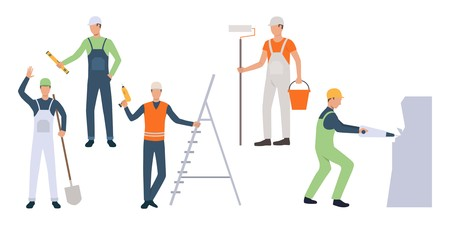Group of renovation workers in uniform. Set of male cartoon characters performing remodeling work. Vector illustration can be used for presentation, home improvement, article