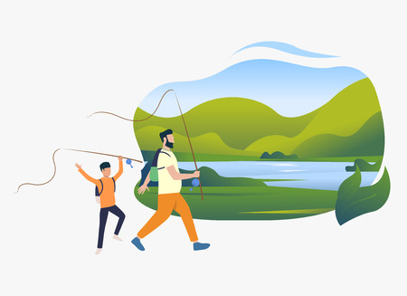 Father and son holding fishing rods, landscape with lake. Holiday, tourism, summer concept. Vector illustration can be used for topics like leisure, family, nature Stock Illustratie