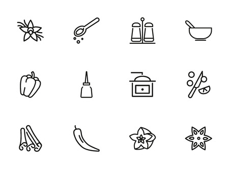 Spices icon set. Line icons collection on white background. Ingredient, flavor, taste. Seasoning concept. Can be used for topics like food, cooking, grocery Vetores