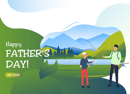 Happy Fathers Day lettering, dad and son holding fishing rods. Holiday, tourism, summer concept. Presentation slide template. Vector illustration for topics like leisure, family, nature