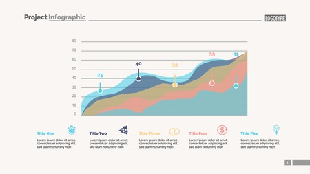 Four area charts slide template. Business data. Progress, diagram, design. Creative concept for infographic, report. Can be used for topics like statistics, marketing, finance.