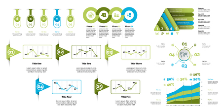 Business inforgraphic design set for marketing concept. Can be used for business project, annual report, web design. Process chart, option chart, flowchart, bar graph, area chart, donut diagram Vectores