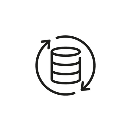 Data refreshing line icon. Updating database, reloading data, restarting database. Database concept. Vector illustration can be used for topics like technology, information, internet Illustration