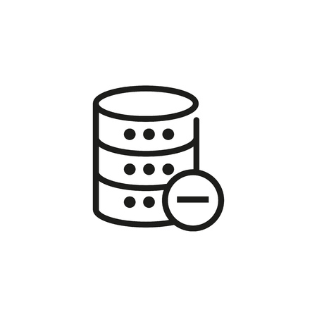 Deleting data line icon. Remove, storage cancel, database unready. Database concept. Vector illustration can be used for topics like technology, information, internet Иллюстрация