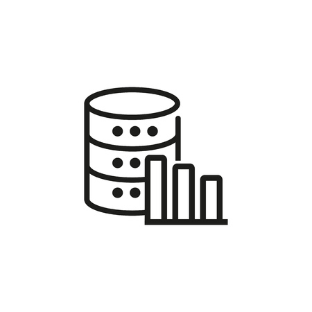 Technical stats line icon. Database statistics, efficiency stats, storage graph. Database concept. Vector illustration can be used for topics like technology, information, internet