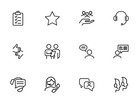 Surveys line icon set. Call center, operator, customer. Customer support concept. Can be used for topics like rate, feedback, review