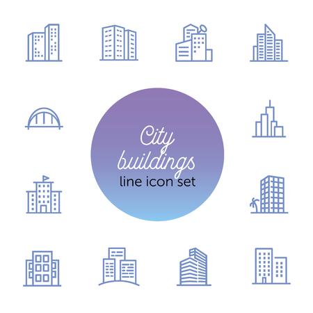 Zestaw ikon linii budynków miasta. Biuro, mieszkanie, mieszkanie. Pojęcie nieruchomości. Może być używany do tematów takich jak nieruchomości, centrum biznesowe, centrum miasta
