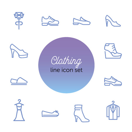 Clothing line icon set. Set of line icons on white background. Shoes, dress, high heels. Festive evening concept. Vector illustration can be used for topics like evening, celebration, black tie 版權商用圖片 - 122753138