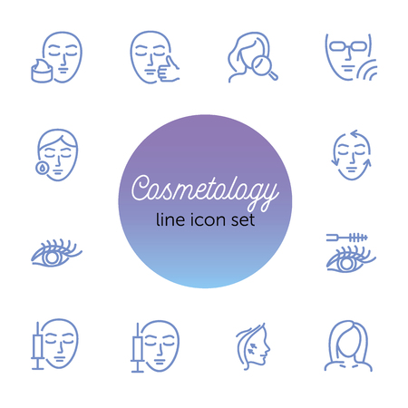 Cosmetology line icon set. Botox injection, solarium, mascara. Beauty concept. Can be used for topics like dermatology, skin care, aesthetics Archivio Fotografico - 121872168