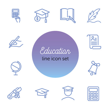 Education line icon set. Set of line icons on white background. Study concept. Bachelor, calculation, diploma. Vector illustration can be used for topics like university, college Zdjęcie Seryjne - 122753152