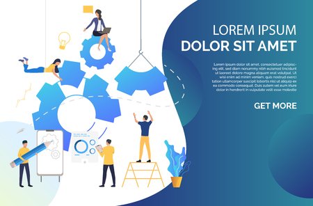 People building business. Startup, planning, brainstorming. Business process concept. Vector illustration can be used for presentation slides, web pages, layouts