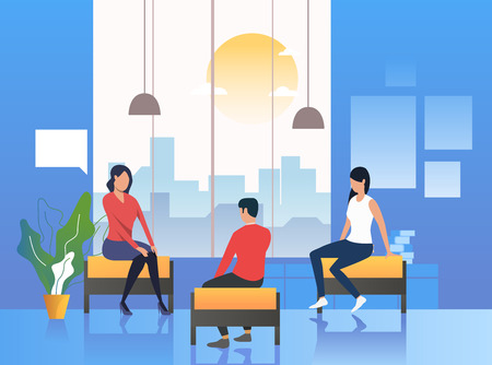 Psychologist conducting therapy with patients. Session, consultancy, counseling. Meeting concept. Vector illustration can be used for topics like business, psychology, corporate