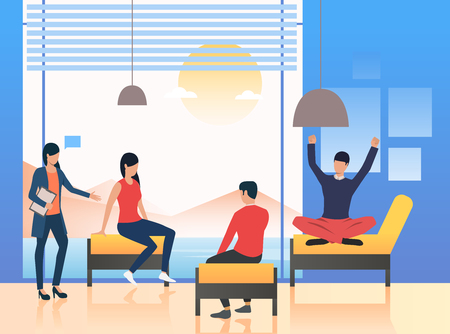 Psychologist standing at patients. Session, informal meeting, briefing. Meeting concept. Vector illustration can be used for topics like business, psychology, corporate Çizim