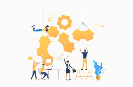 Les gens d'affaires construisent et conduisent des engins. Travail d'équipe, démarrage, processus d'entreprise. Notion de gestion. L'illustration vectorielle peut être utilisée pour la diapositive de présentation, les affiches, les bannières