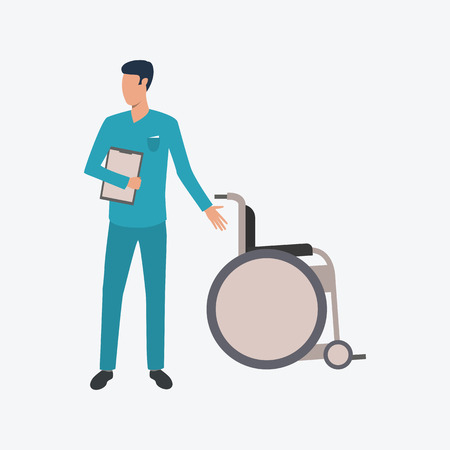 Male doctor pointing at wheelchair. Blue scrub, nursing, hospital. Medicine concept. Vector illustration can be used for topics like medical or palliative help Illustration