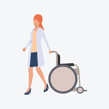 Red haired female doctor rolling wheelchair. White coat, nursing, hospital. Medicine concept. Vector illustration can be used for topics like medical care or hospice