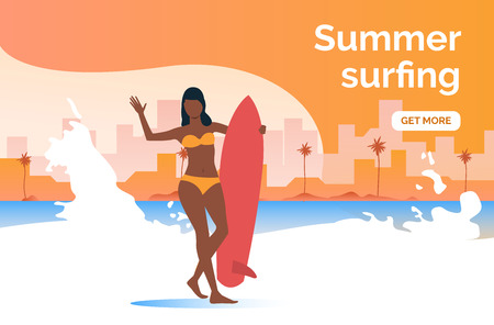 Summer surfing get more presentation slide template. Dark skinned girl with surfboard standing on beach. Surfing concept. Vector illustration can be used for topics like vacation, activity, travel Stockfoto - 122753206