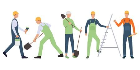 Set of builders, painter and handymen working. Group of men wearing uniform and holding tools. Vector illustration for building work presentation slide, construction business design Ilustração