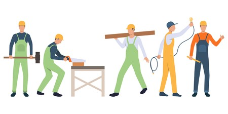 Set of builders, carpenter, electrician and handymen working. Group of men wearing uniform and holding tools. Vector illustration for building work presentation slide, construction business design