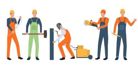 Set of builders, electrician, welder and handymen working. Group of men wearing uniform and holding tools. Vector illustration for building work presentation slide, construction business Standard-Bild - 122753227