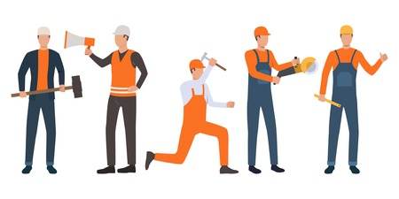 Set of builders, foreman and handymen working. Group of men wearing uniform and holding tools. Vector illustration for building work presentation slide, construction business design
