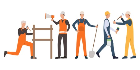 Set of builders, foreman, painter, carpenter and handymen working. Group of men wearing uniform and holding tools. Vector illustration for building work presentation slide, construction business