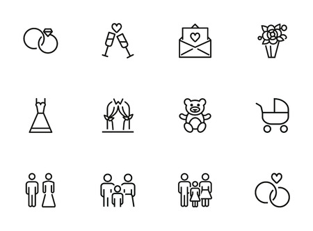Marriage line icon set. Wedding rings, couple, child. Family concept. Can be used for topics like celebration, holiday, having baby