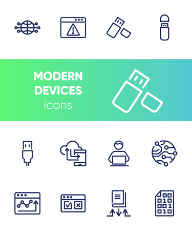 Modern devices icons. Set of line icons on white background. Web site, telephone, global. Technology concept. Vector illustration can be used for topics like progress, internet, worldwide