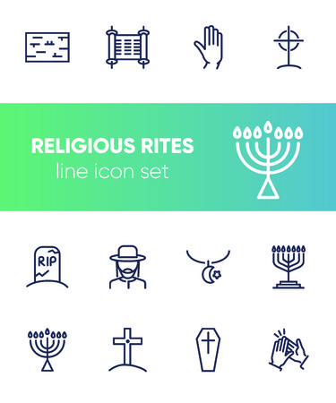 Religious rites line icon set. Cemetery, menorah, rabbi. Religion concept. Can be used for topics like church, funeral, Judaism