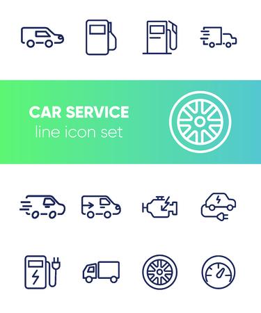 Car service line icon set. Filling station, electric car, wheel. Car concept. Can be used for topics like garage, vehicle maintenance, biofuel Vektoros illusztráció