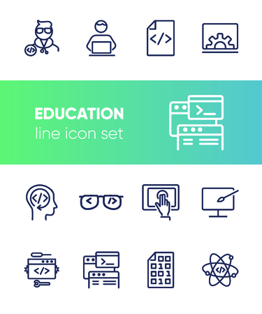 Education line icon set. Set of line icons on white background. Notebook, internet, studying. Self-education concept. Vector illustration can be used for topics like technology, devices, modern life Illusztráció
