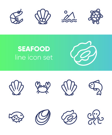 Seafood line icon set. Shrimp, seashell, turtle. Food concept. Can be used for topics like restaurant menu, sea life, fish market