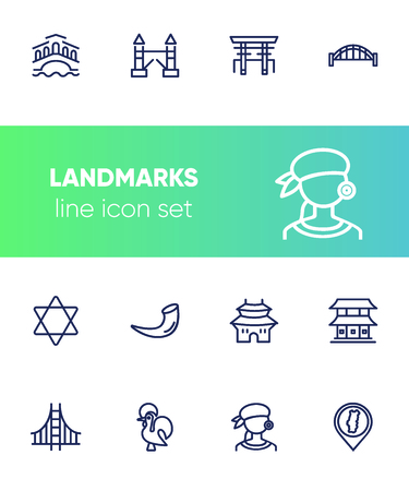 Landmarks line icon set. Venice, tower bridge, Japan. Travel concept. Can be used for topics like tourism, vacation, architecture, adventure Ilustração