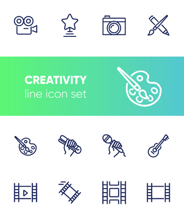 Creativity line icon set. Camera, guitar, movie. Leisure concept. Can be used for topics like entertainment, vocation, hobby Иллюстрация
