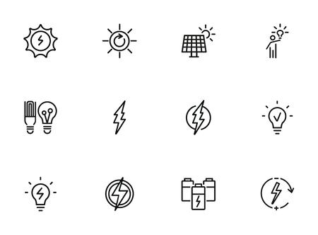 Energy line icon set. Batteries, glowing lightbulb, lightning bolt. Power concept. Can be used for topics like ecology, renewable energy, electricity Vektorgrafik