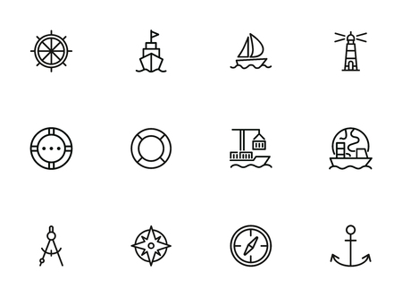 Ocean port line icon set. Boat, ship, lighthouse, compass. Marine concept. Can be used for topics like nautical navigation, sailing, ship Stock Illustratie