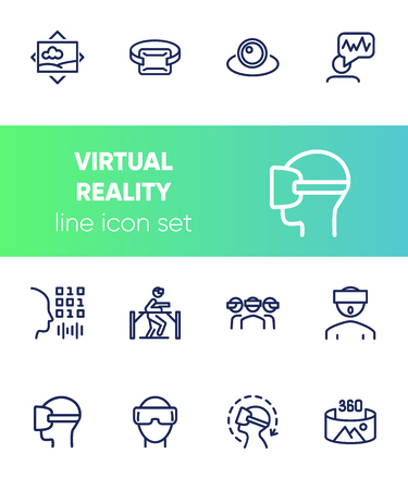 Virtual reality line icon set.Virtual reality glasses, programming, vr game. Technology concept.Vector illustration can be used for topics like  progress, technology, entertainment Ilustração