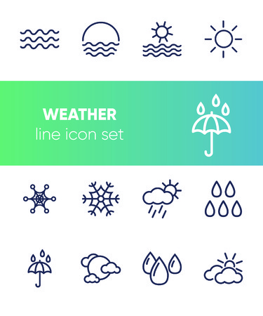 Weather line icon set. Sun, cloudy, rain, snow. Nature concept. Can be used for topics like forecast, season, climate