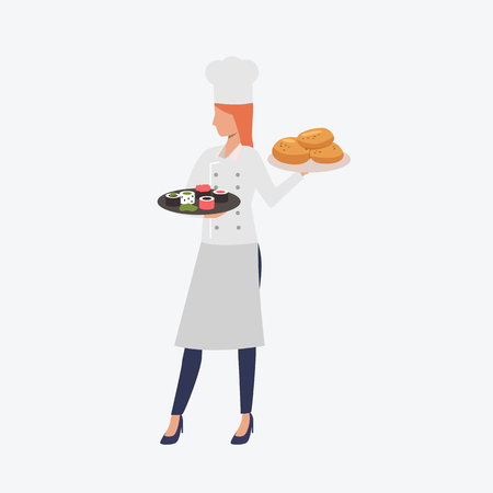 Chef woman holding trays with food. Cooking, restaurant, occupation, profession concept. Vector illustration can be used for presentation slide, poster, new projects