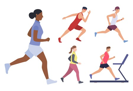 Set of male and females runners. Group of men and women running, jogging and training on treadmills. Sport concept. Vector illustration can be used for topics like fitness, hobby, lifestyle