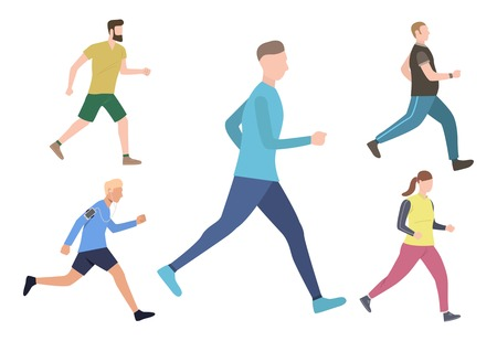 Set of runners and joggers. Men and woman running, jogging and walking. Sport concept. Vector illustration can be used for topics like cardio training or outdoor activity