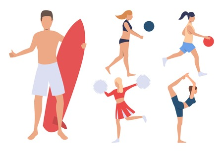 Set of summer sport activities. Group of men and women playing volleyball and basketball, doing yoga and surfing. Sport concept. Vector illustration can be used for topics like beach, summer, vacation