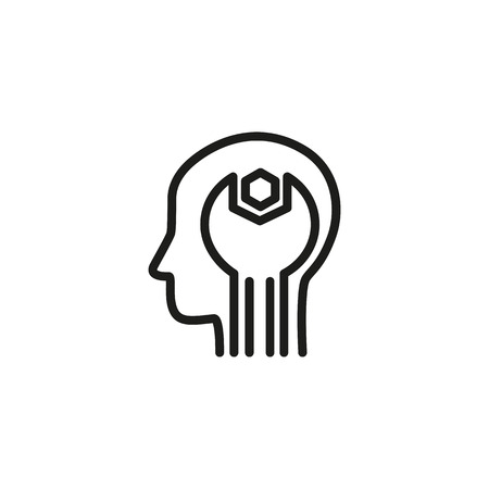 Agile manager line icon. Wrench and bolt in males head. Agile development concept. Vector illustration can be used for topics like artificial intelligence, robotic science psychology