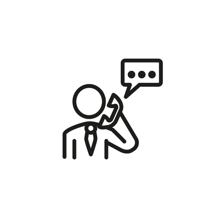 Business communication line icon. Employee speaking on telephone, speech bubble. Job search concept. Vector illustration can be used for topics like phone call, contact information, dialogue
