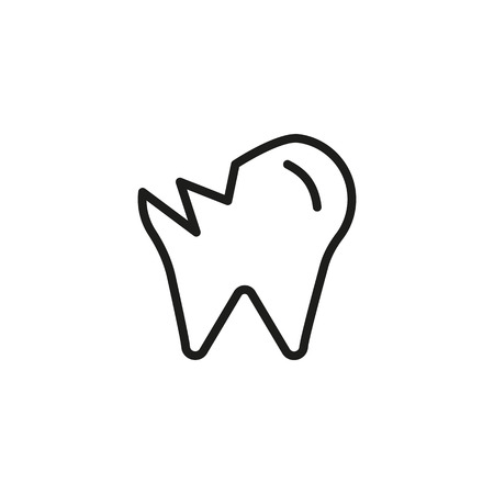 Damaged tooth line icon. Chipping, molar, enamel. Teeth health concept. Vector illustration can be used for topics like dentist, dentistry, toothache, illness