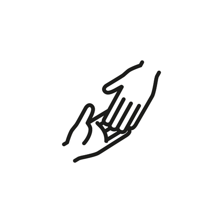 Greeting gesture line icon. Two hands touching each other. Friendship concept. Vector illustration can be used for topics like handshake, helping hand, friends