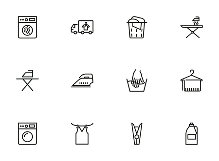 Laundry line icon set. Bleach, washer, washing machine. Household concept. Can be used for topics like housekeeping, home appliance, service
