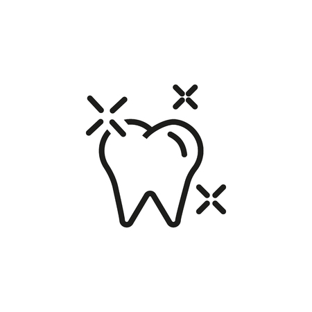 Shining tooth line icon. Healthy molar, enamel, glowing. Teeth health concept. Vector illustration can be used for topics like whitening, dental care, protection