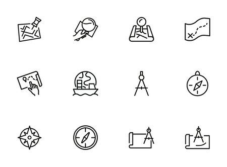 Navigation line icon set. Map, compass, location. Planning route concept. Can be used for topics like travel, destination, cartography Illustration