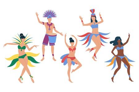 Set of Brazilian carnival dancers. Girls in bikini dancing samba, man in costume playing drum. Show concept. Vector illustration can be used for topics like festival, samba, Rio